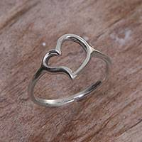 Sterling silver cocktail ring, 'Give My Love' - Sterling Silver Heart-Shaped Cocktail Ring from Bali