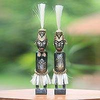 Wood sculptures, 'Asmat Couple' (pair) - 2 Asmat Tribe Sculptures in Hand Carved Wood and Fibers