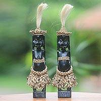 Wood sculptures, 'Dani Couple' (pair) - 2 Dani Tribe Collectible Sculptures in Hand Carved Wood