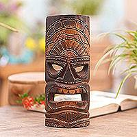 Wood mask, 'Papua Shield in Brown' - Hand Carved Wood Papua Wall Mask Brown from Indonesia