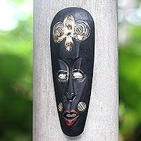 Wood mask, 'Rinjani Ancestor' - Lombok Style Rinjani Tribe Wall Wood Mask Carved by Hand