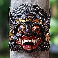 Wood mask, 'Balinese Barong' - Hand-Carved Wood Mask of Barong from Balinese Mythology