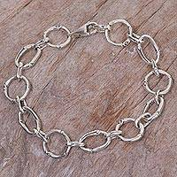 Sterling silver link bracelet, 'Bamboo Chain' - Handcrafted Sterling Silver Engraved Link Bracelet from Bali