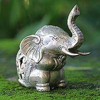 Bronze statuette, 'Little Elephant' - Indonesian Bronze Elephant Statuette with Silver Finish