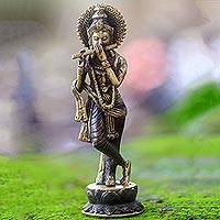 Bronze statuette, 'Krishna's Song' - Hand Made Bronze Krishna Statuette with Antique Finish