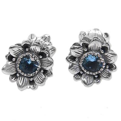 Blue Topaz Sterling Silver Button Earrings from Indonesia