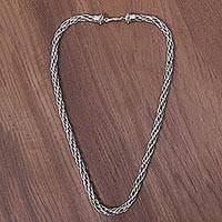 Men's sterling silver chain necklace, 'King Snake' - Hand Made Sterling Silver Men's Necklace from Indonesia