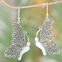 Sterling silver dangle earrings, 'Bright Bali Butterfly' - Sterling Silver Butterfly Dangle Earrings from Indonesia
