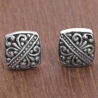 Sterling silver stud earrings, 'Bali Beauties' - Sterling Silver Square Stud Earrings from Indonesia