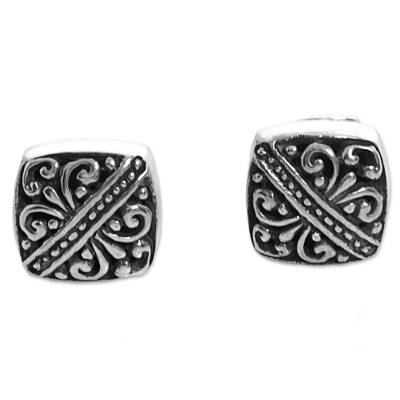 Sterling Silver Square Stud Earrings from Indonesia