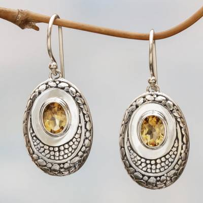Citrine dangle earrings, 'Yellow Brilliance' - Citrine and Sterling Silver Dangle Earrings from Indonesia