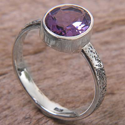 Amethyst solitaire ring, 'Simply in Purple' - Hand Made Amethyst and Silver Solitaire Ring from Indonesia