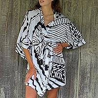 Rayon robe, 'White Night III' - Women's Black and White Leaf Print Rayon Wrap Robe