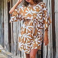 Short rayon robe, 'Balinese Spice' - Women's Brown and White Fern Floral Rayon Wrap Short Robe