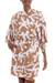 Short rayon robe, 'Balinese Spice' - Women's Brown and White Fern Floral Rayon Wrap Short Robe (image 2a) thumbail
