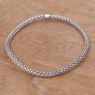 Sterling silver bangle bracelet, 'Unbroken Hope' - Handmade Sterling Silver Bangle Bracelet from Indonesia