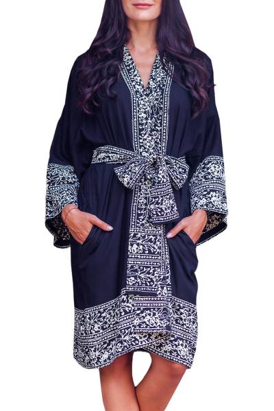 Indonesian Floral Patterned Black and White Short Robe