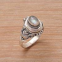 Labradorite locket ring, 'Shimmering Shrine' - Labradorite and Sterling Silver Locket Ring from Bali