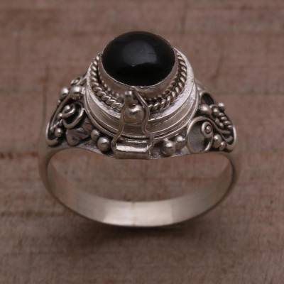 Onyx locket ring, 'Gerhana Shrine' - Onyx and 925 Sterling Silver Locket Ring from Bali