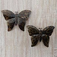 Steel wall art, 'Monarch Twins' (pair) - Two Steel Butterfly Wall Decorations from Indonesia
