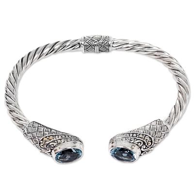 Handmade Sterling Silver Twist Blue Topaz Hinged Cuff Bracelet