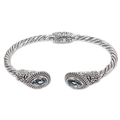 Sterling Silver Blue Topaz Cuff Bracelet from Indonesia