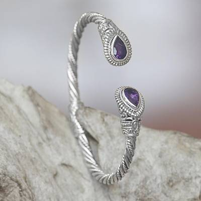 Amethyst cuff bracelet, 'Bright Eyes' - Amethyst Sterling Silver Cuff Bracelet from Indonesia