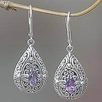 Gold accented amethyst dangle earrings, 'Dragonfly Duet' - Sterling Silver and Amethyst Dragonfly Dangle Earrings