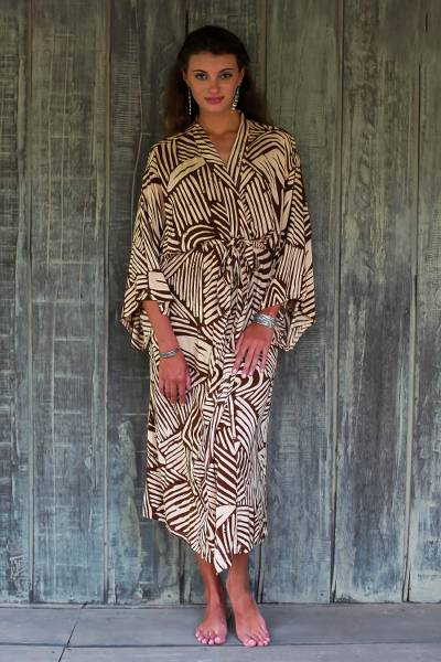 Rayon robe, 'Palm Oasis' - One Size Fits Most Long Cool Rayon Robe for Women 2 Pockets