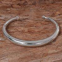 Sterling silver cuff bracelet, 'Majestic Horn' - Hand Made Sterling Silver Cuff Bracelet from Indonesia