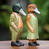Wood sculptures, 'Starry Duck Fashionistas' (pair) - Wood Sculptures Ducks Star Motif (Pair) from Indonesia