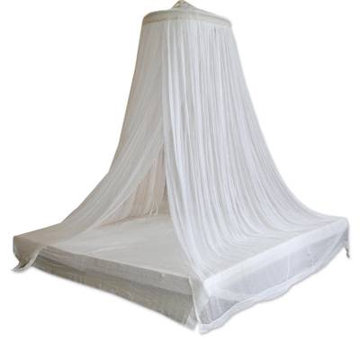 Cotton canopy, 'Ethereal Dream' - Handmade White Cotton Bed Canopy with Bamboo Ring
