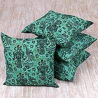 Cotton cushion covers, 'Festive Bali' (set of 4) - Handmade Sea Green Print Cotton Cushion Covers