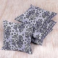 Cotton cushion covers Joyful Bali set of 4 Indonesia