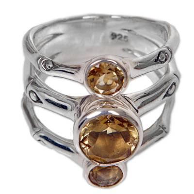 Hand Made Citrine Sterling Silver Multistone Ring Indonesia