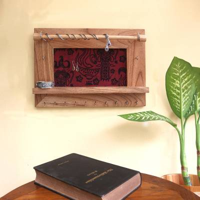 Wood and cotton jewelry display wall panel, 'Tegalalang Heritage in Tan' - Wood and Cotton Jewelry Display Wall Panel Handmade in Bali