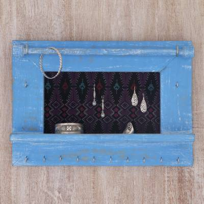 Wood and cotton jewelry display wall panel, 'Tegalalang Heritage in Sky' - Wood and Cotton Jewelry Display in Sky Blue from Indonesia