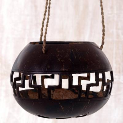 Coconut shell hanging basket, Geometric Shrine