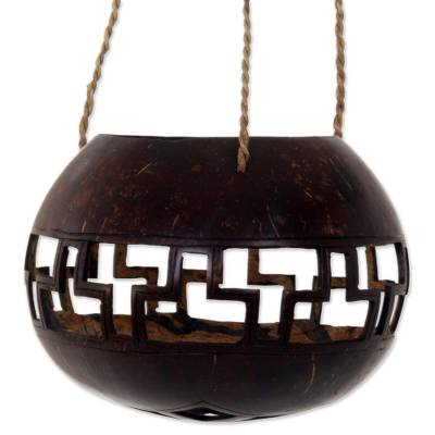 Hand Carved Coconut Shell Hanging Basket from Indonesia