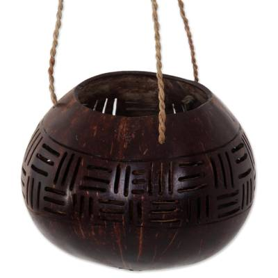 Hand Made Coconut Shell Accent Geometric from Indonesia
