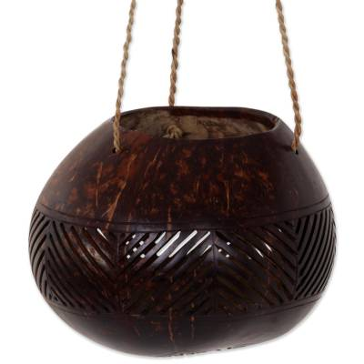 Coconut Shell Agel Cord Hanging Basket from Indonesia