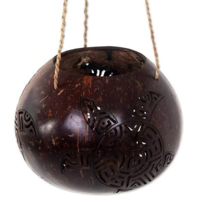 Coconut Shell Hanging Basket Turtle from Indonesia