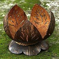Coconut shell catchall, 'Awakened Lotus' - Hand Made Coconut Shell Catchall from Indonesia