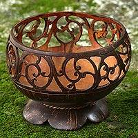 Coconut shell catchall, 'Spiral Vine' - Hand Made Coconut Shell Catchall Spiral from Indonesia