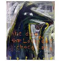 'The Dog Who Loves to Eat Chocolate' - Original Expressionist painting of Dog Eating Chocolate