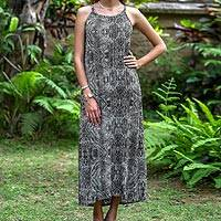 Rayon batik dress, 'Banana Bark in Black' - Batik Black and White Sleeveless Rayon Maxi Dress