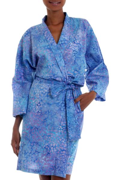 Short Cotton Batik Robe of Vibrant Blue and Rosy Hues