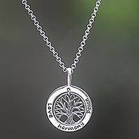 Sterling silver pendant necklace, 'Hope Tree' - Sterling Silver Tree Pendant Necklace from Indonesia