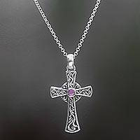 Amethyst cross pendant necklace, 'In God We Trust' - Sterling Silver Amethyst Cross Pendant Necklace Indonesia