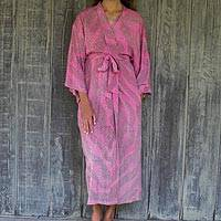Rayon robe, 'Coral Reef' - 100% Rayon Light Pink Coral Reef Tie-Dye Robe from Indonesia